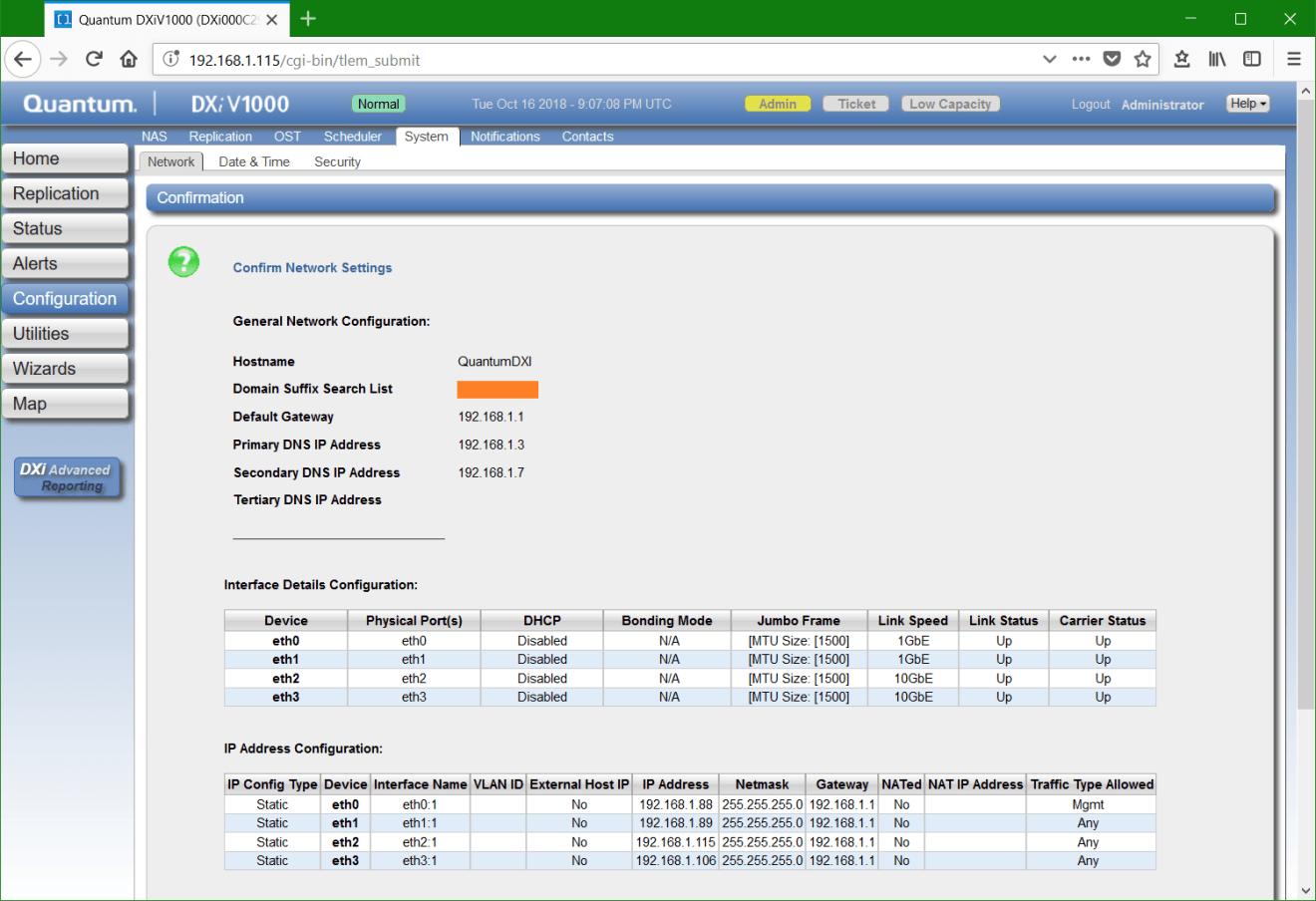 domalab.com Quantum DXi network configuration