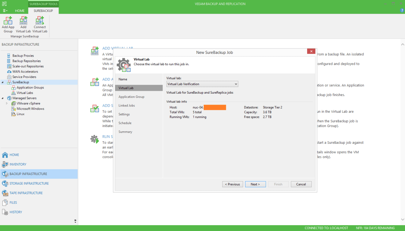 domalab.com Veeam SureBackup for Linux virtual lab