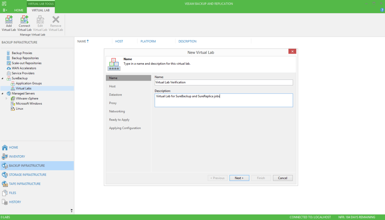 domalab.com Veeam SureBackup job create virtual lab