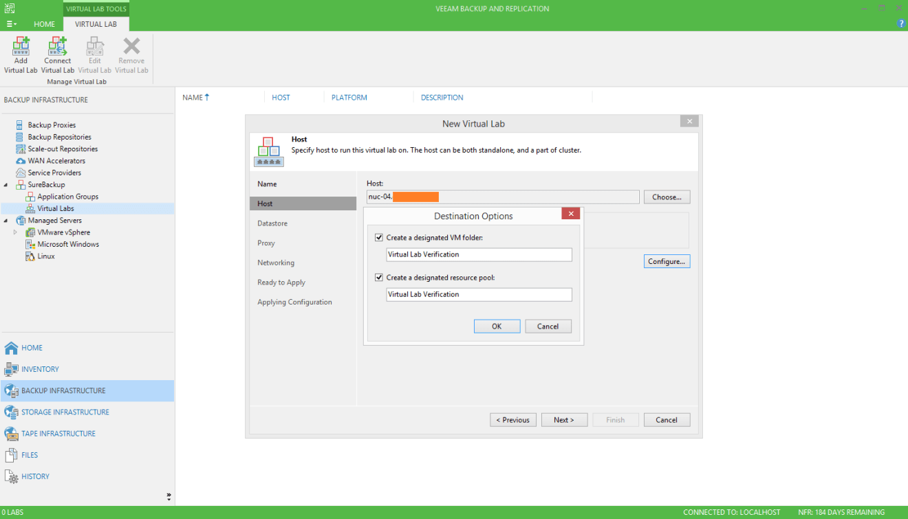 domalab.com Veeam SureBackup job virtual lab host vm