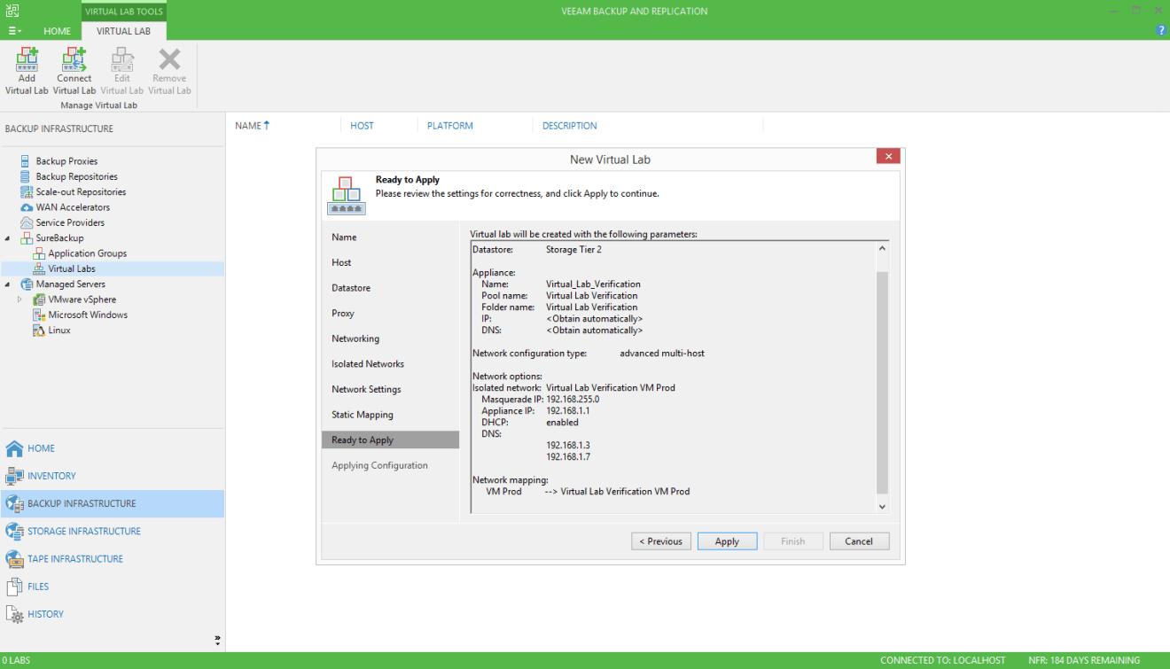 domalab.com Veeam SureBackup job virtual lab review