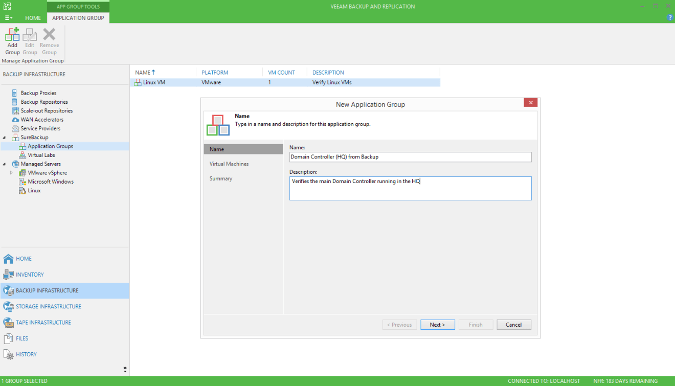 domalab.com Veeam SureBackup for Domain Controller application group