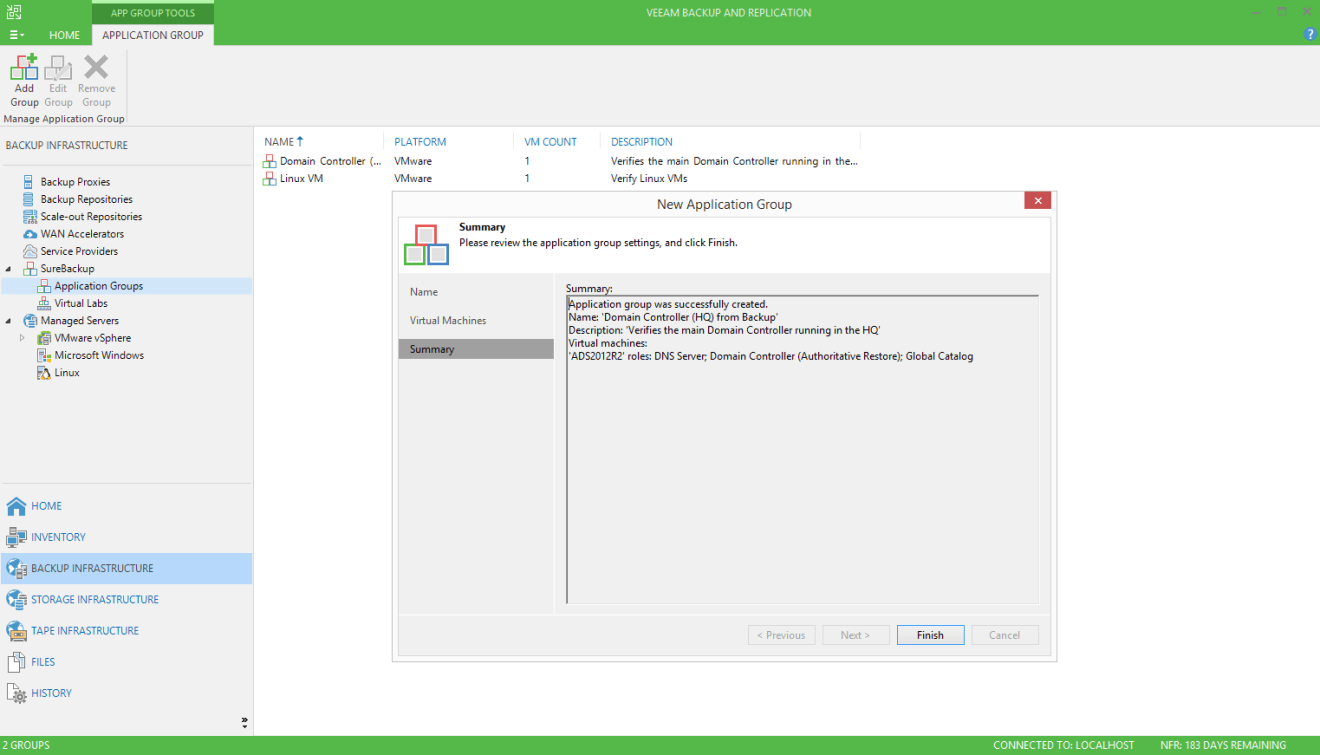 domalab.com Veeam SureBackup for Domain Controller application group summary