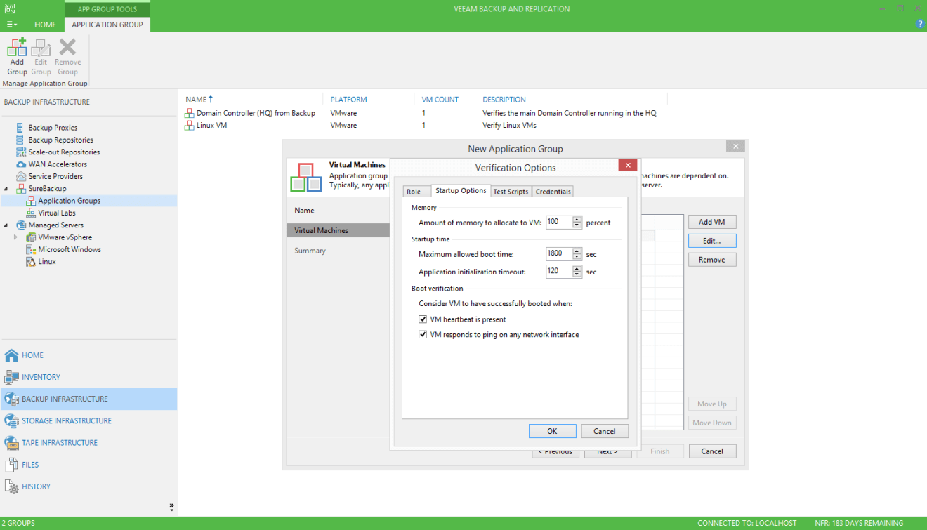 domalab.com Veeam custom SureBackup oracle startup option
