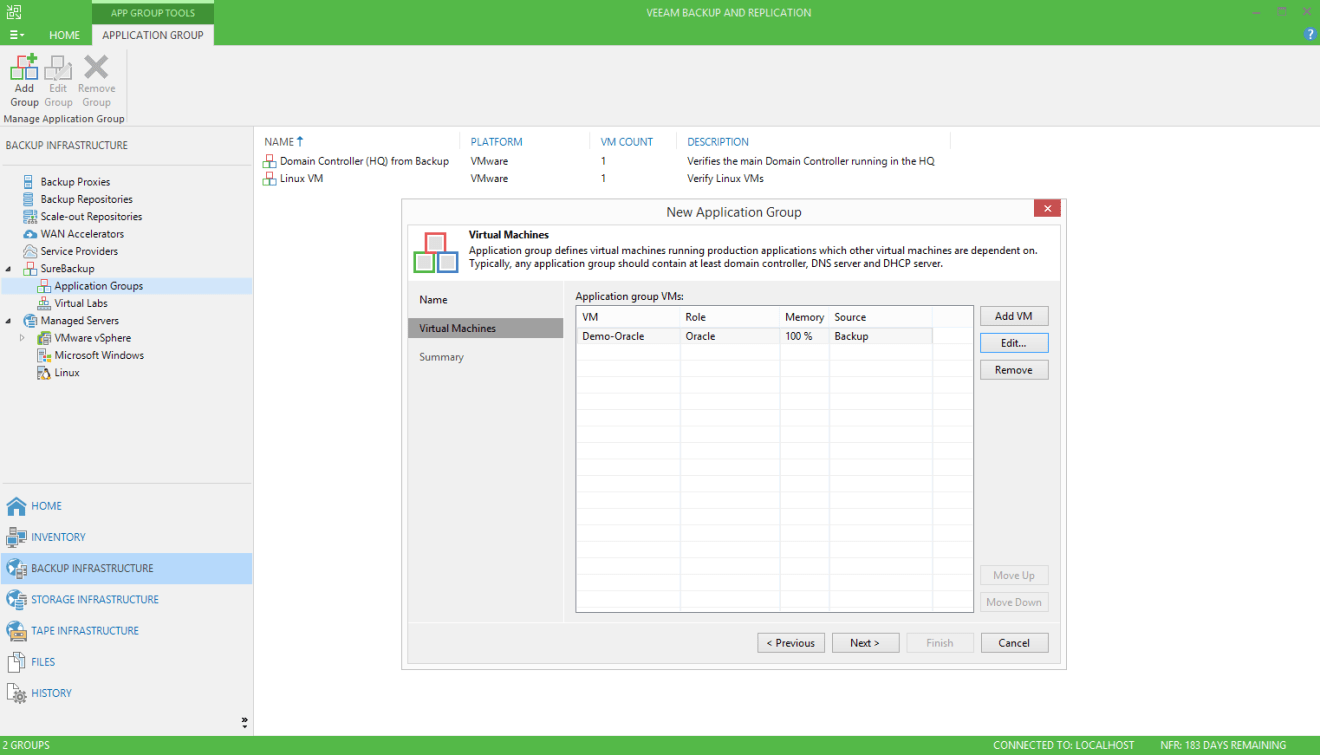 domalab.com Veeam custom SureBackup oracle