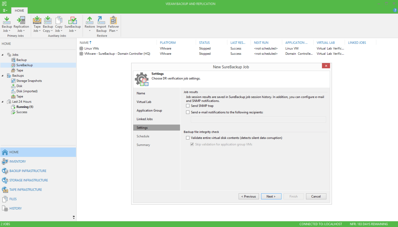 domalab.com Veeam custom SureBackup oracle settings