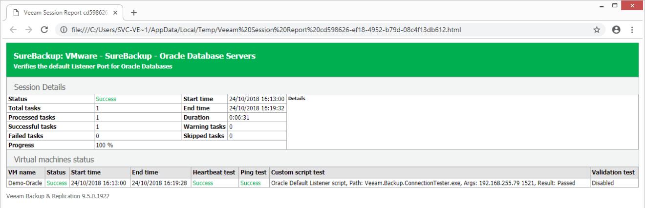 domalab.com Veeam custom SureBackup oracle report
