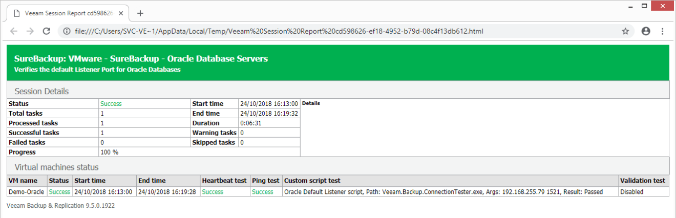 domalab.com Veeam custom SureBackup oracle report