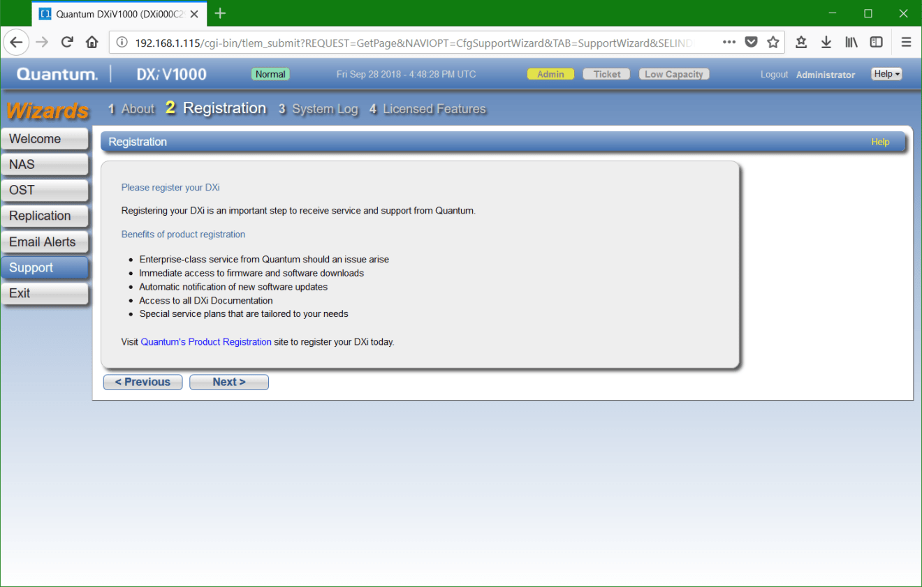 domalab.com update Quantum DXi registration