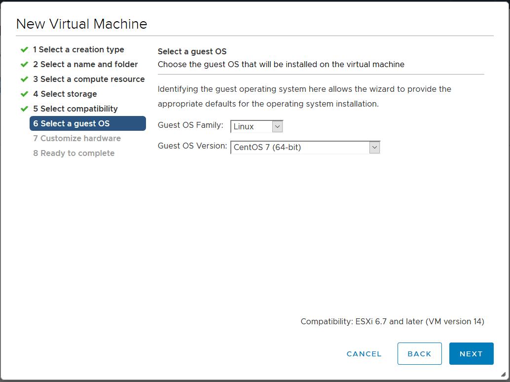 domalab.com Linux CentOS 7 install vmware selcet guest OS