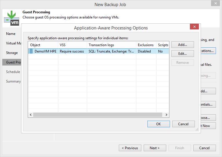 domalab.com HPE StoreVirtual Backup application aware settings