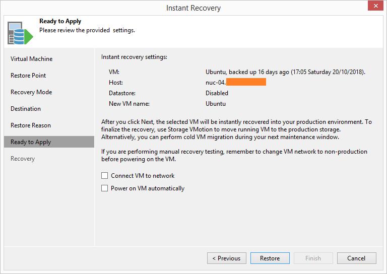 domalab.com HPE StoreVirtual Restore veeam settings