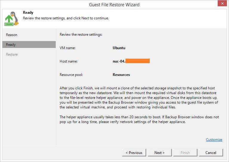 domalab.com HPE StoreVirtual Restore veeam File level