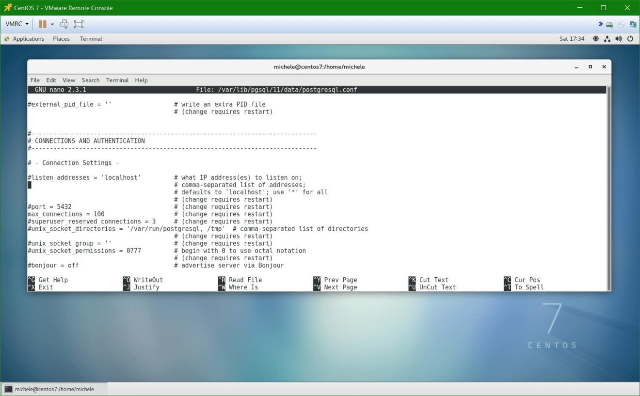 domalab.com install postgreSQL pgAdmin CentOS 7 listening port