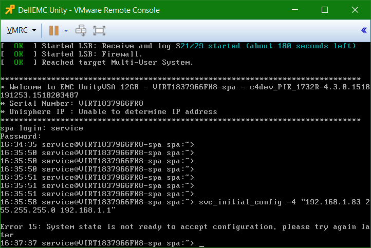 domalab.com Dell EMC Unity VSA service not started