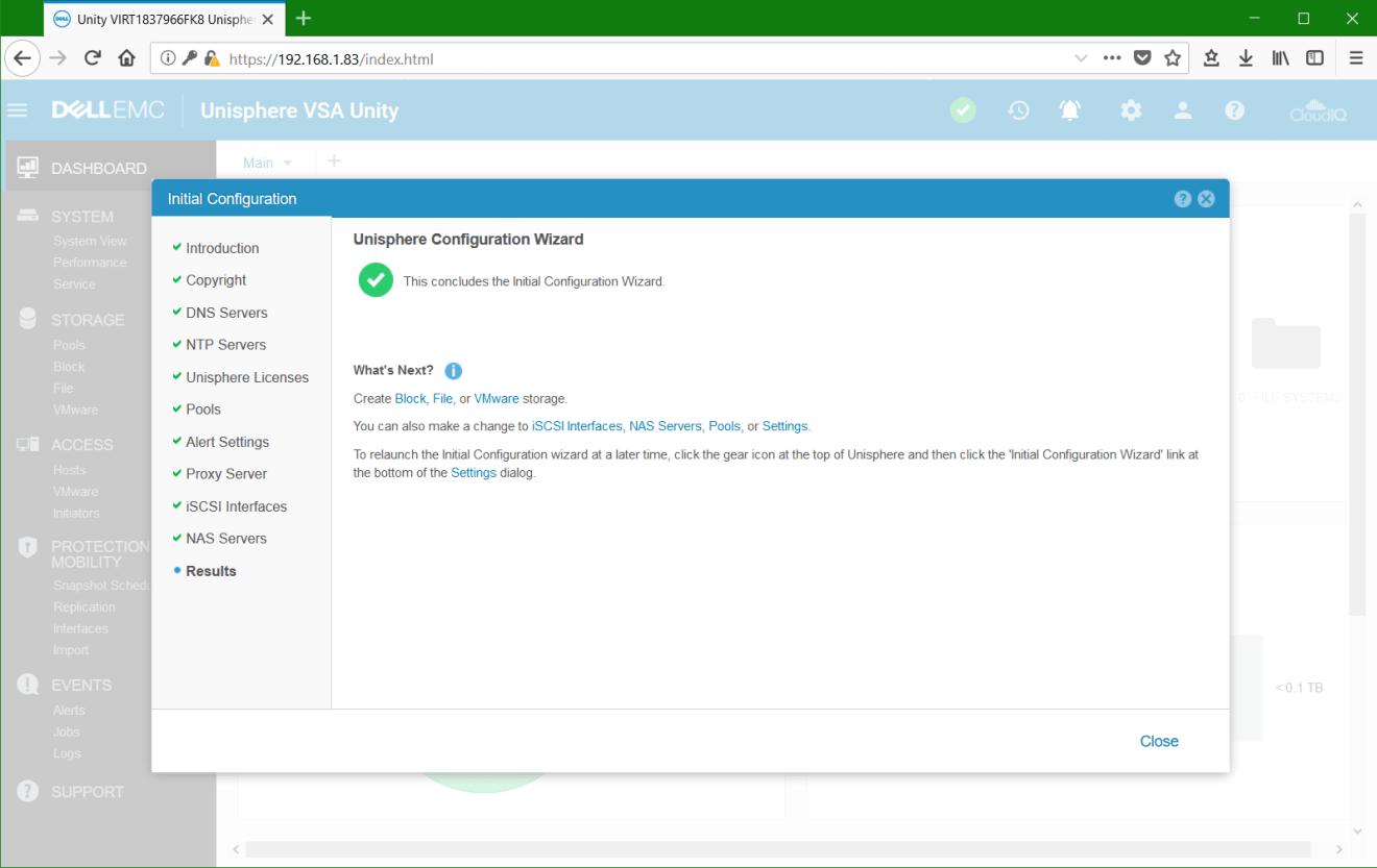 domalab.com Dell EMC Unity VSA wizard summary
