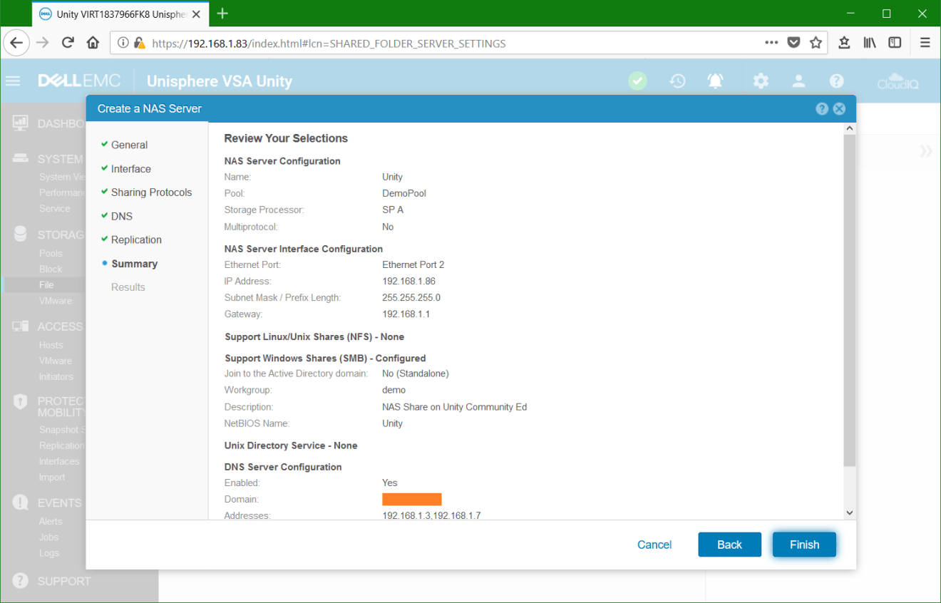 domalab.com Dell EMC Unity NAS Server wizard summary