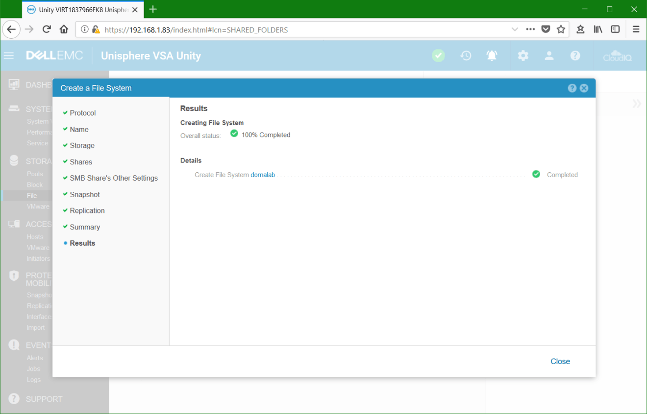 domalab.com Dell EMC Unity File System wizard completed