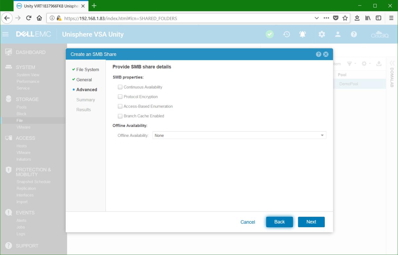 domalab.com Dell EMC Unity File System share advanced