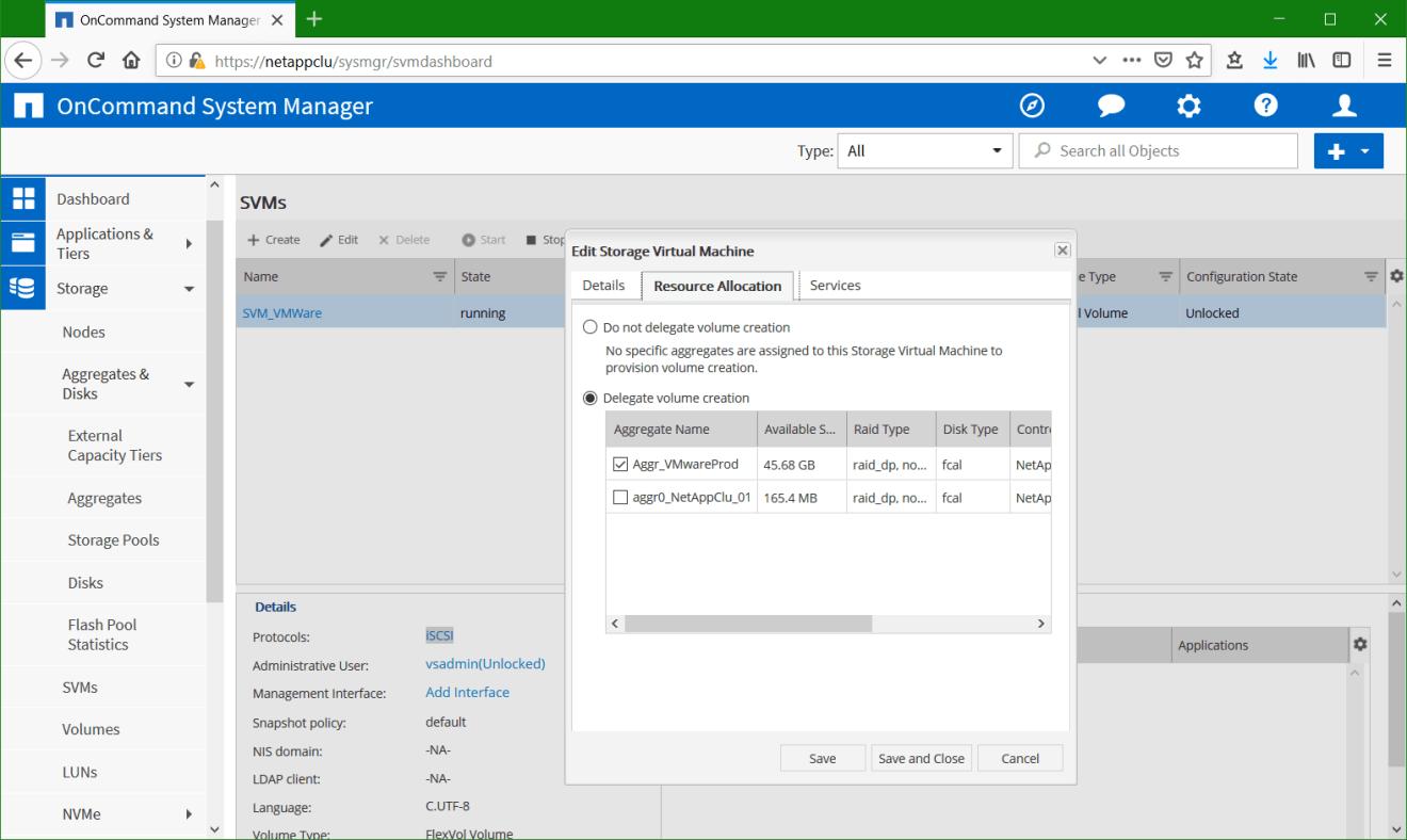 domalab.com Configure NetApp ONTAP SVM Resource allocation