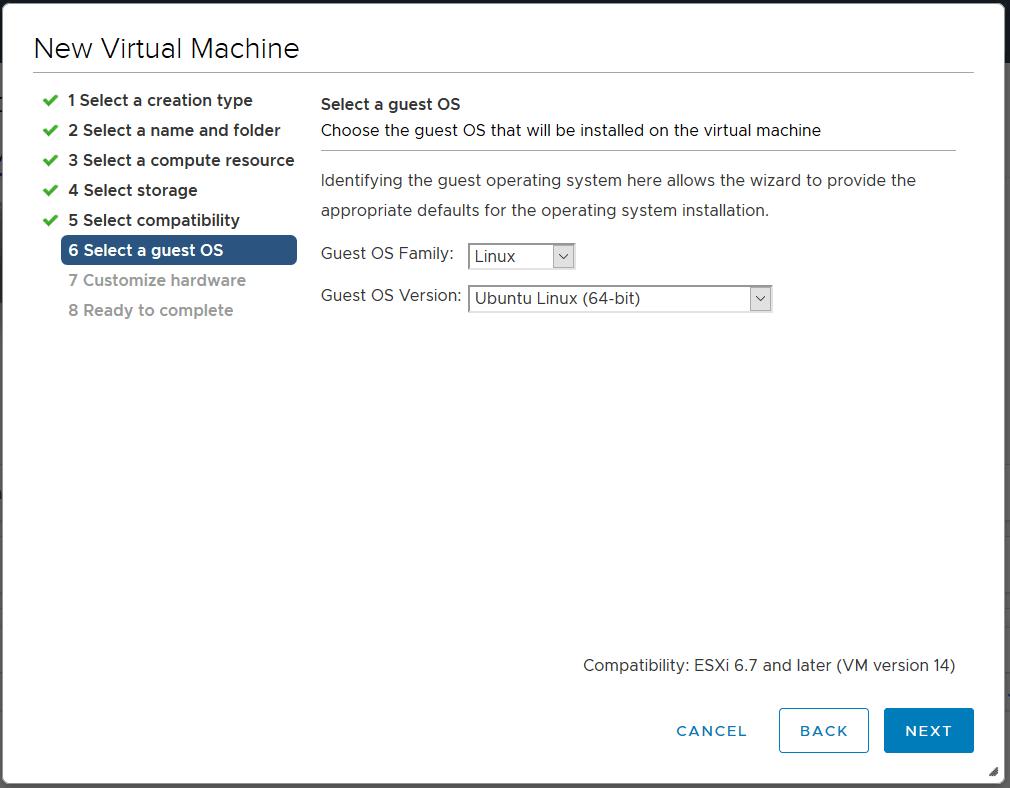 domalab.com deploy Ubuntu Server VMware select guest OS
