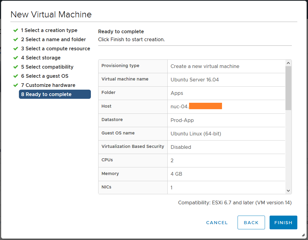 domalab.com deploy Ubuntu Server VMware wizard summary