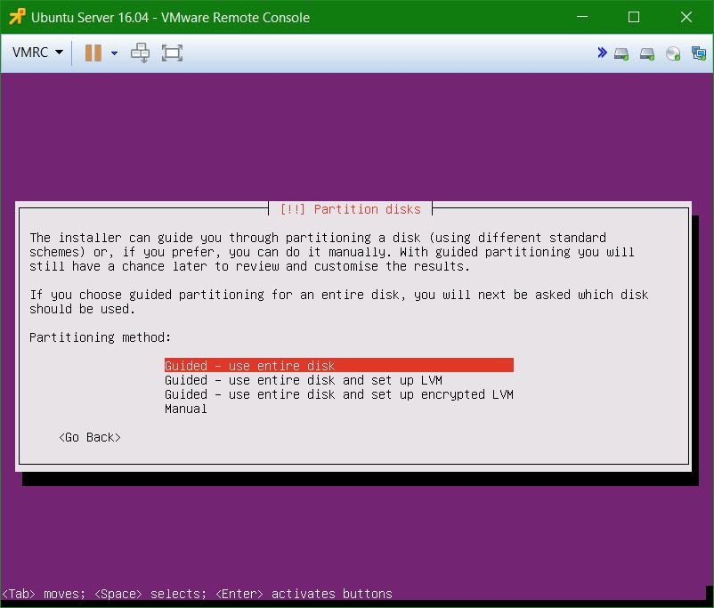 domalab.com Install Ubuntu Server VMware partition disks