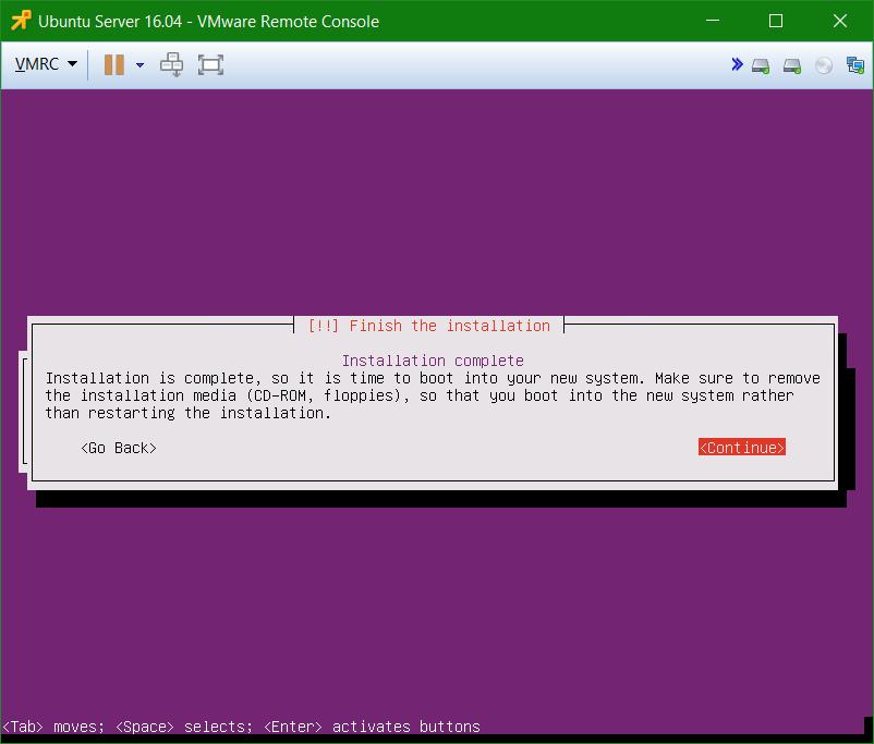 domalab.com Install Ubuntu Server VMware complete