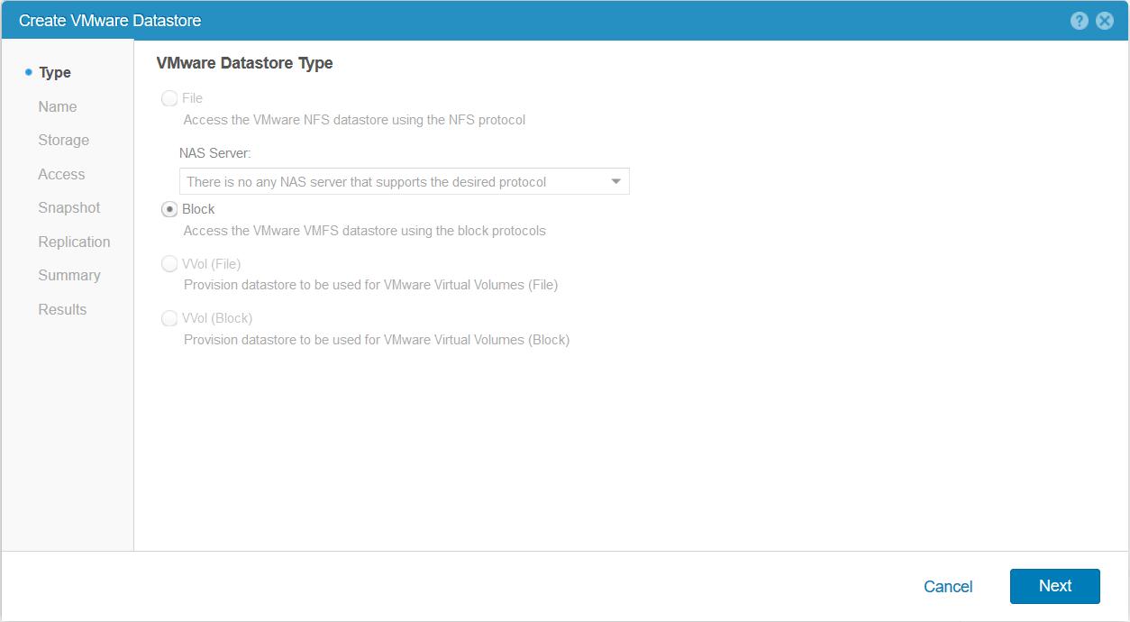 domalab.com Dell EMC Unity storage datastore type