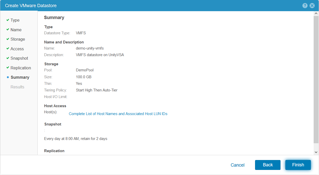 domalab.com Dell EMC Unity storage datastore summary