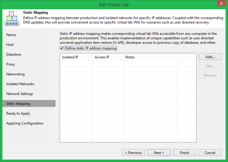 domalab.com Veeam DataLabs test edit static mapping