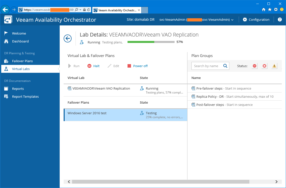 domalab.com Veeam VAO verification plan