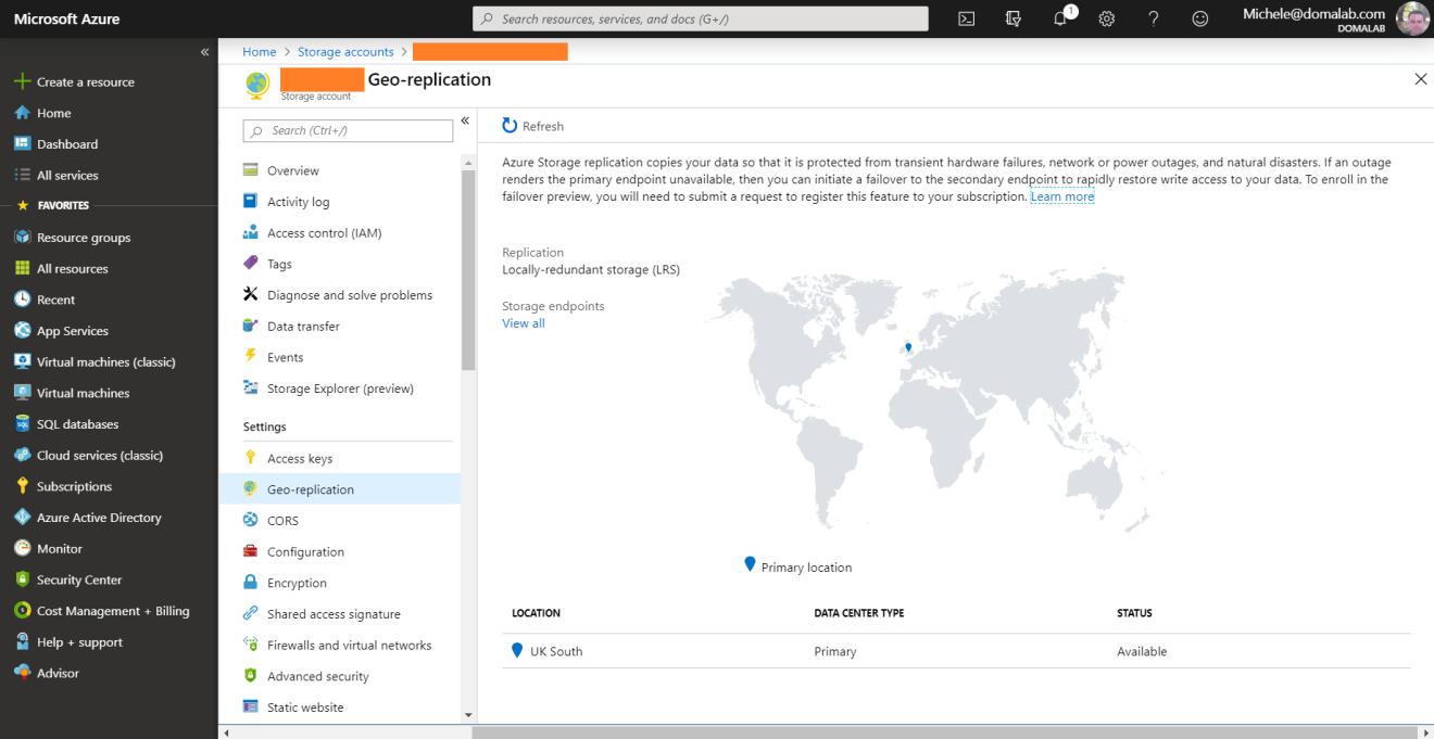 domalab.com Azure Storage Account