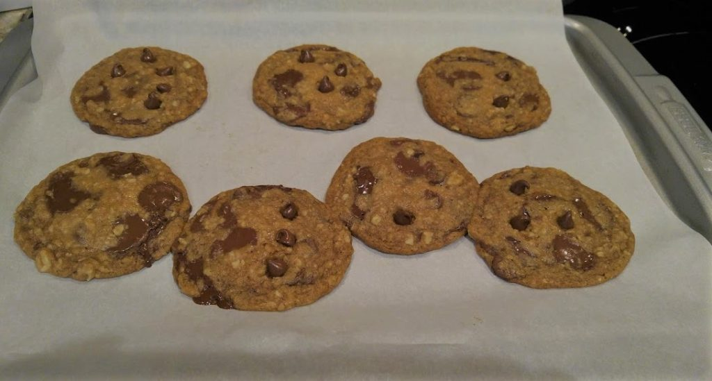 Chocolate chip cookies after coming out of oven