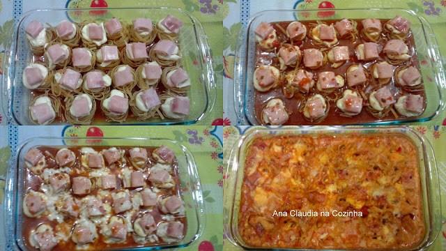 macarrao surpresa no forno recheado com queijo, requeijão e presunto