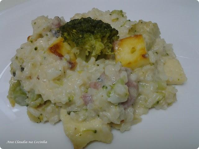 arroz cremoso de brócolis e linguiça