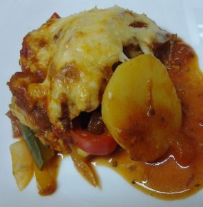 gratinado de frango com batatas