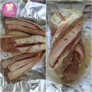lombo de porco com bacon trançado