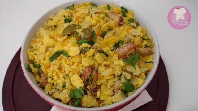 farofa com milho verde e farinha de milho
