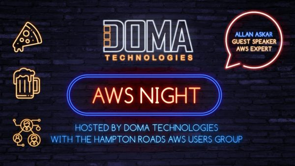 DOMA Tech AWS Night Digital Sign