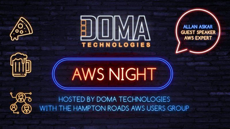 DOMA Tech AWS Night Digital Sign