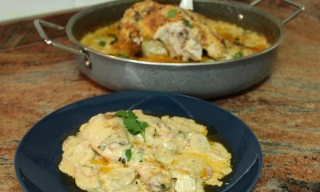 Печено пиле със сос Карбонара
