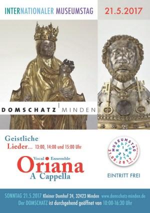 Das Vokalensemble Oriana A Cappella gastiert am Internationalen Museumstag 2017 im Domschatz Minden. Foto: DVM