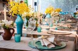 Azul Tiffany e Amarelo