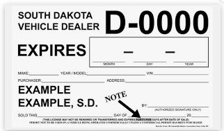 Temporary License Plates