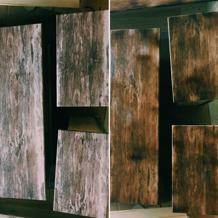 Before / after staining the vinyl-covered drawers with Polyshades