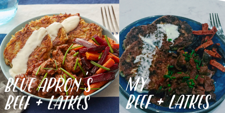 Blue Apron Review Sauteed Beef with Latkes and Carrots
