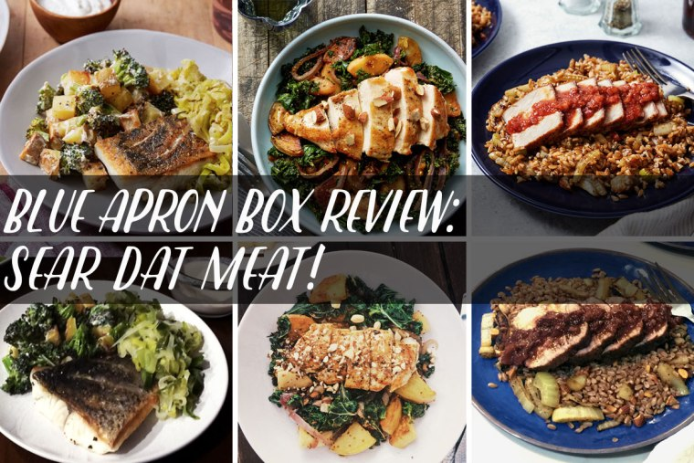 Reviews for Blue Apron's Crispy Barramundi w/Melted Leeks, Seared Chicken w/ Apple, Kale, & Potato Hash, and Cumin-Crusted Pork w/ Fig & Blood Orange Sauce.
