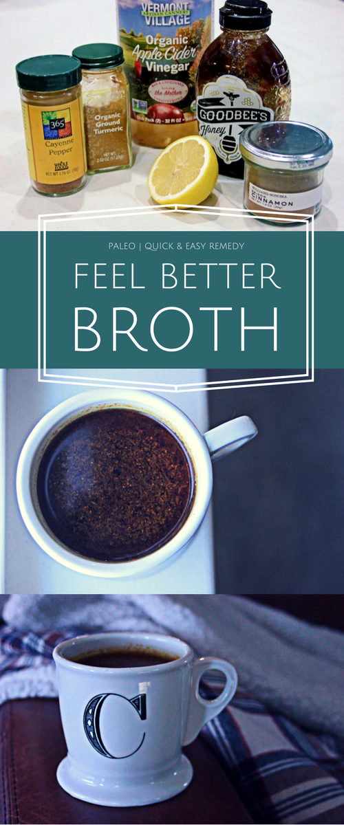 Bone broth + classic throat remedy ingredients and a little spice build in flavor for this hearty broth/tincture guaranteed to help you feel better.