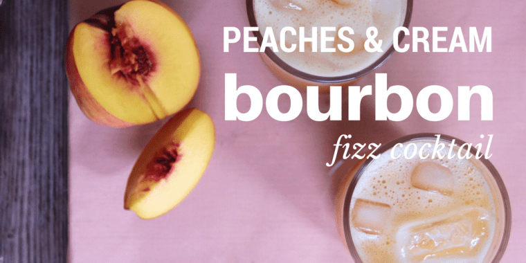 A delightful frothy, effervescently refreshing, and just a tad sweet cocktail featuring peaches & cream shrub and your favorite bourbon!